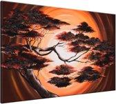 Schilderij handgeschilderd Boom | Bruin , Rood | 120x70cm 1Luik