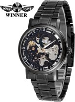 WINNER herenhorloge kast: Zwart band: RVS/Zwart 42mm
