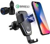 DrPhone Smart Sensor V3 - Draadloze Snel Oplader Autohouder- Ventilatie + Dashboard houder + DrPhone QC 3.0 Autolader + Full Package