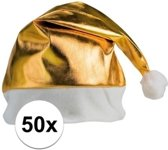 50x stuks gouden glimmende kerstmutsen