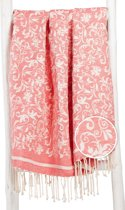 ZusenZomer hamamdoek XL FLOWER 100x190 Fouta hammam strandlaken handdoek - koraal roze