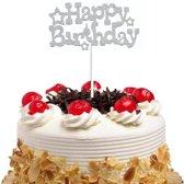 Happy Birthday Taart topper - Taart decoratie verjaardag Zilver - Glitters
