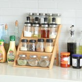 Kruidenrekje voor 16 tot 20 kruidenpotjes - Keukenrek / staand specerijen rek van bamboe hout - 4 laags keukenorganizer voor aanrecht - Decopatent®