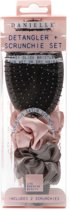 Detangler haarborstel met scrunchie set