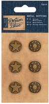 Metal Buttons (6pcs) - Denim Blue