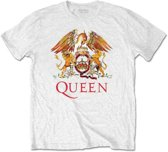 Queen - Classic Crest heren unisex T-shirt wit - XL
