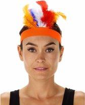 Oranje indianentooi met Rood-Wit-Blauwe veren