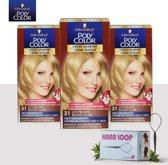 Schwarzkopf Poly Color Creme Haarverf - 31 Lichtblond - 3 Pack Voordeelverpakking - Gratis Haarloop