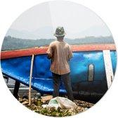 Schilderende Man | Wanddecoratie | Ronde Plexiglas | 100CM x 100CM | Schilderij | Foto op plexiglas