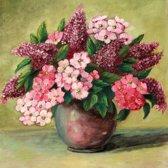 Schilderij - Roze bloemenvaas stilleven (print op canvas)