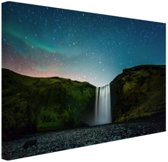 IJslandse waterval bij nacht Canvas 30x20 cm - Foto print op Canvas schilderij (Wanddecoratie)