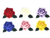 Strijk embleem 'Rozen met blad patch set (6)' – stof & strijk applicatie