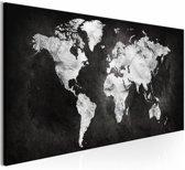 Schilderij - Wereld in Zwart/Wit - Wereldkaart ,  zwart wit