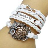 Fako Bijoux® - Multi Armband - Infinity Dream Uil - Wit