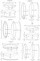 ESTAhome fotobehang technische tekeningen van surfplanken zwart en wit