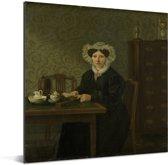 Portret van een vrouw - Schilderij van Harmanus Uppink Aluminium 120x160 cm - Foto print op Aluminium (metaal wanddecoratie) XXL / Groot formaat!