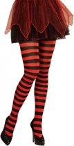 Gestreepte panty rood/zwart neon Xl