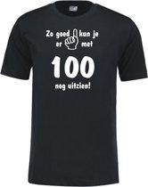 Mijncadeautje - Leeftijd T-shirt - Zo goed kun je er uitzien 100 jaar - Unisex - Zwart (maat L)