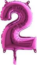 Folieballon cijfer 2 fuchsia (35cm)