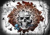 Fotobehang Alchemy Skull Flowers Tattoo | DEUR - 211cm x 90cm | 130g/m2 Vlies