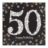 Servetten 50 Jaar Happy Birthday 33x33cm 16 stuks