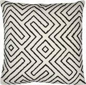 Home Delight Maze wit - Sierkussen - 50x50cm - Zwart, wit