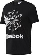 Reebok Classics Big Logo Graphic Tee Dames Sportshirt - Black/White - Maat XS