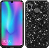 Let op type!! Glittery poeder schokbestendig TPU Case voor Galaxy A30 (zwart)