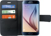 Samsung Galaxy S6 -  Lederen TPU Wallet Case Zwart - Portemonee Hoesje - Book Case - Flip Cover - Klap - 360 beschermend Telefoonhoesje