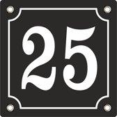 emaille huisnummer zwart nr. 25