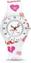 Colori Funtime 5 CLK048 Kinderhorloge met Hartjes - Siliconen Band - Ø 34 mm - Wit
