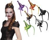 18 stuks: Tiara mini Heksenhoed Glitter in 6 kleuren - assorti
