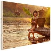 Rivierwater in Azie  Hout 120x80 cm - Foto print op Hout (Wanddecoratie)