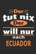Der tut nix Der will nur nach Ecuador: Notizbuch mit 110 Seiten, ebenfalls Nutzung als Dekoration in Form eines Schild bzw. Poster m�glich