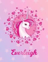 Everleigh: Unicorn Large Blank Primary Handwriting Learn to Write Practice Paper for Girls - Pink Purple Magical Horse Personaliz