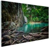 Erawan waterval in jungle Glas 90x60 cm - Foto print op Glas (Plexiglas wanddecoratie)