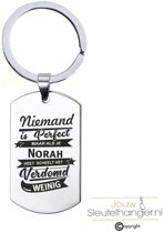 Niemand Is Perfect - Norah - RVS Sleutelhanger