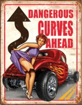 Wandbord - dangerous curves ahead pin-up -30x40cm-