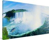 Panorama Niagarawatervallen Canvas 80x40 cm - Foto print op Canvas schilderij (Wanddecoratie woonkamer / slaapkamer)