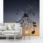Fotobehang vinyl - Mooie trompet blaast muzieknoten breedte 450 cm x hoogte 450 cm - Foto print op behang (in 7 formaten beschikbaar)