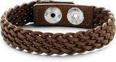 Frank 1967 7FB-0197 - Heren armband - geweven leer - lengte 23 cm - bruin