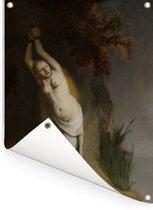 Andromeda - Schilderij van Rembrandt van Rijn Tuinposter 120x160 cm - Tuindoek / Buitencanvas / Schilderijen voor buiten (tuin decoratie) XXL / Groot formaat!