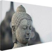Boeddha hoofdbeeld steen Canvas 30x20 cm - klein - Foto print op Canvas schilderij (Wanddecoratie woonkamer / slaapkamer)