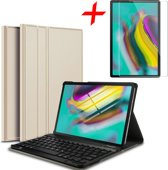 Samsung Galaxy Tab S5e Hoes + Screenprotector - Toetsenbord Hoes met Bluetooth Keyboard Case Hoesje  - iCall - Goud