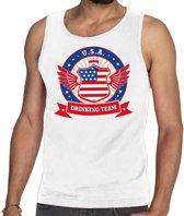 Wit USA drinking team tanktop / mouwloos shirt / tanktop / mouwloos shirt wit heren -  Amerika kleding M