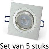 Dimbare Philips GU10 inbouwspot   5W   Zilver vierkant   Set van 5 stuks