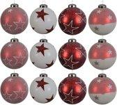 Glas Kerstballen Met Sterren (8cm) Box 12 Stuks Red White