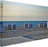 Strand aan de Noordzee met huisjes Canvas 120x80 cm - Foto print op Canvas schilderij (Wanddecoratie woonkamer / slaapkamer) / Zee en Strand