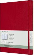 Moleskine 18 maanden agenda 2019-2020 - Wekelijks - XL (19x25 cm) - Rood - Zachte kaft