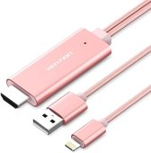 Roze - 3 Meter - PREMIUM VENTION iPhone 8pin Lightning naar HDMI converter adapter kabel / HDMI TV Kabel /
